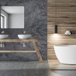 Gray and wooden bathroom